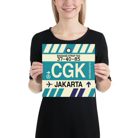 "YHM Designs - CGK Jakarta Airport Code Poster with Vintage Baggage Tag Design - 10""x10"""
