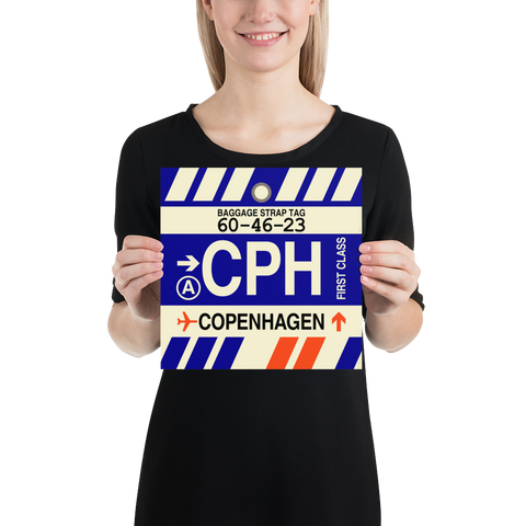 "YHM Designs - CPH Copenhagen Airport Code Poster with Vintage Baggage Tag Design - 10""x10"""