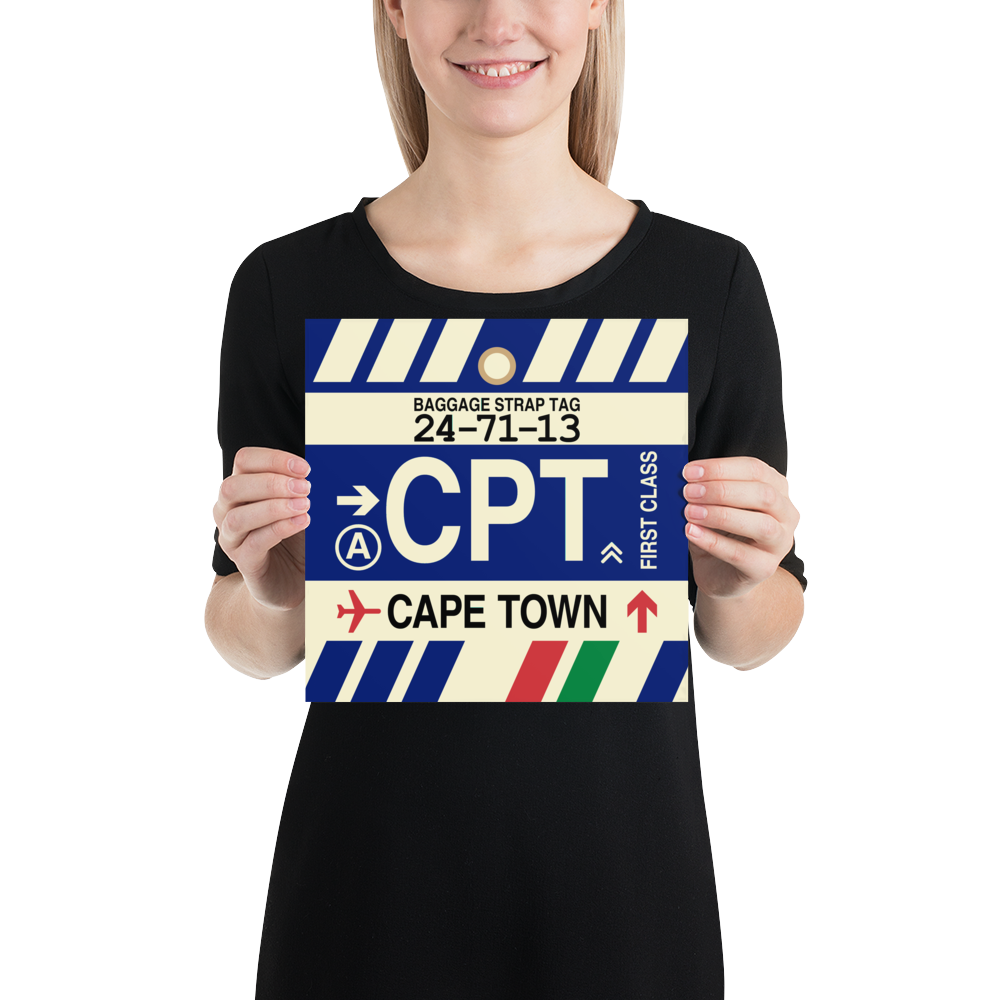 "YHM Designs - CPT Cape Town Airport Code Poster with Vintage Baggage Tag Design - 10""x10"""