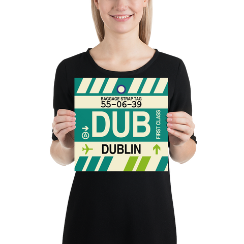 "YHM Designs - DUB Dublin Airport Code Poster with Vintage Baggage Tag Design - 10""x10"""