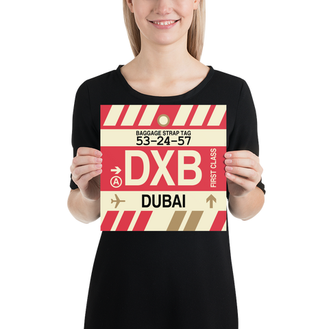 "YHM Designs - DXB Dubai Airport Code Poster with Vintage Baggage Tag Design - 10""x10"""