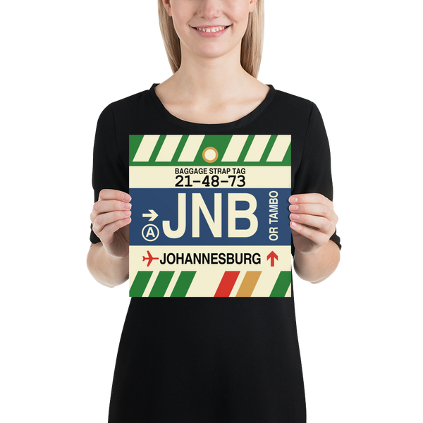 "YHM Designs - JNB Johannesburg Airport Code Poster with Vintage Baggage Tag Design - 10""x10"""
