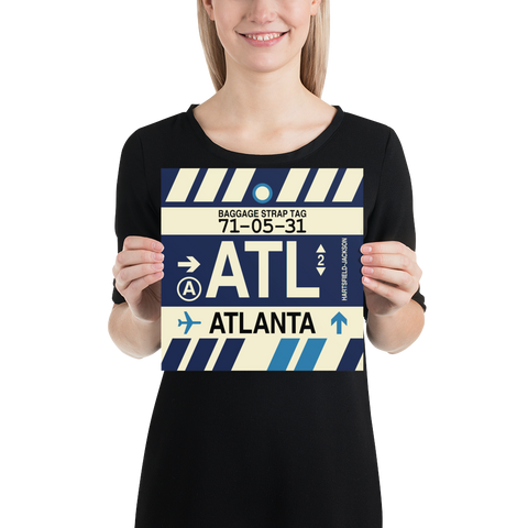 "YHM Designs - ATL Atlanta Airport Code Poster with Vintage Baggage Tag Design - 10""x10"""