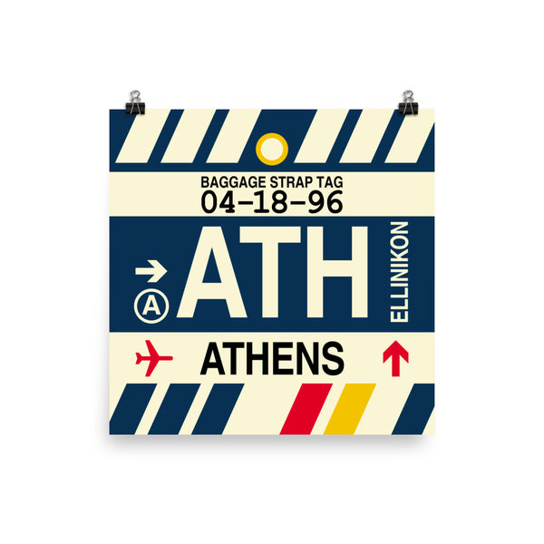 "YHM Designs - ATH Athens Airport Code Poster with Vintage Baggage Tag Design - 12""x12"""