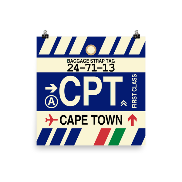 "YHM Designs - CPT Cape Town Airport Code Poster with Vintage Baggage Tag Design - 12""x12"""