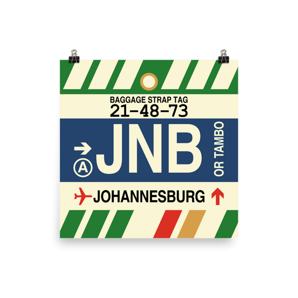 "YHM Designs - JNB Johannesburg Airport Code Poster with Vintage Baggage Tag Design - 12""x12"""