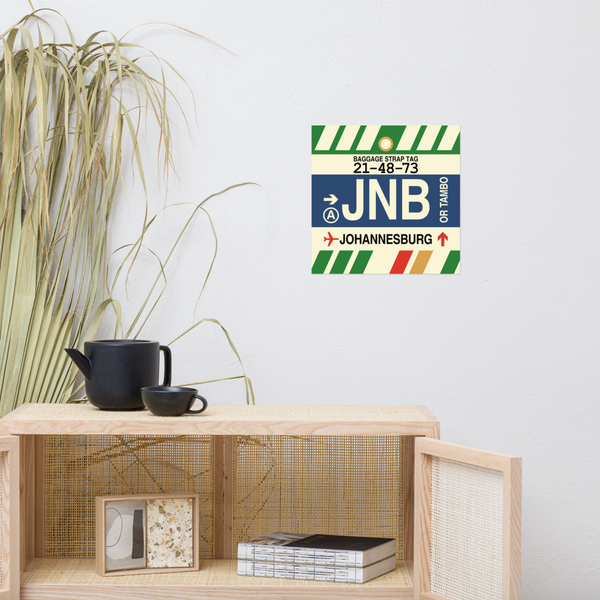 "YHM Designs - JNB Johannesburg Airport Code Poster with Vintage Baggage Tag Design - 14""x14"""