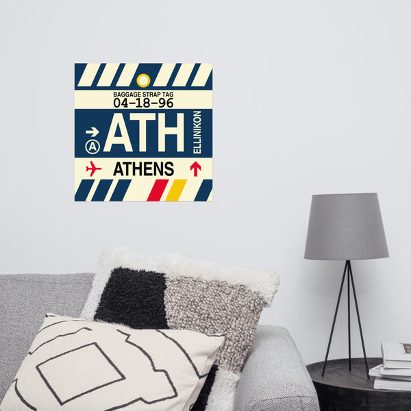"YHM Designs - ATH Athens Airport Code Poster with Vintage Baggage Tag Design - 16""x16"""