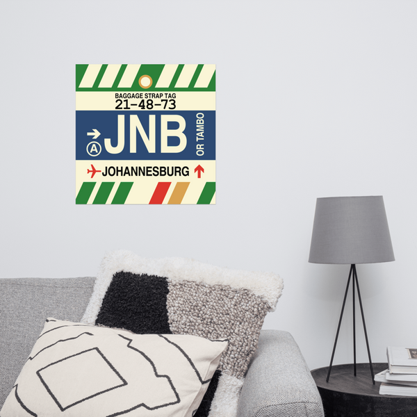 "YHM Designs - JNB Johannesburg Airport Code Poster with Vintage Baggage Tag Design - 16""x16"""