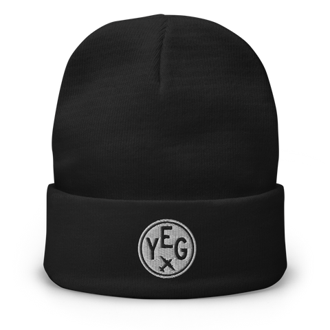 YHM Designs - YEG Edmonton Beanie Winter Hat with Airport Code - City-Themed Merchandise - Roundel Design with Vintage Airplane - Image 1