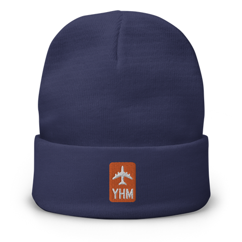 YHM Designs - YHM Hamilton Beanie Winter Hat with Airport Code - City-Themed Merchandise - Retro Jetliner Design - Image 1