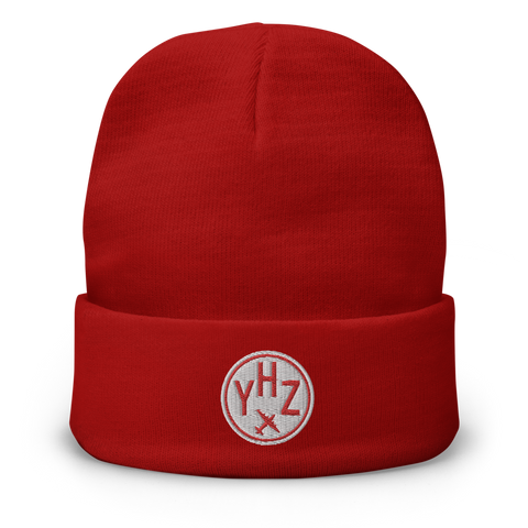 YHM Designs - YHZ Halifax Beanie Winter Hat with Airport Code - City-Themed Merchandise - Roundel Design with Vintage Airplane - Image 1