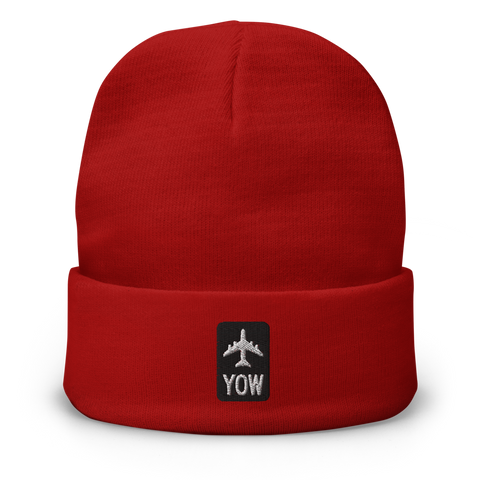 YHM Designs - YOW Ottawa Beanie Winter Hat with Airport Code - City-Themed Merchandise - Retro Jetliner Design - Image 1