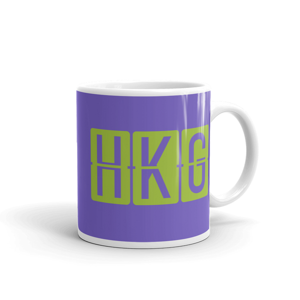 YHM Designs - HKG Hong Kong Airport Code Split-Flap Display Coffee Mug - Graduation Gift, Housewarming Gift - Green and Purple - Right