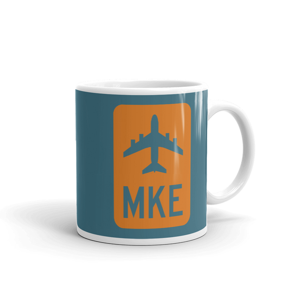 YHM Designs - MKE Milwaukee Airport Code Jetliner Coffee Mug - Graduation Gift, Housewarming Gift - Orange and Teal - Right
