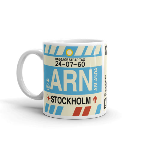 YHM Designs - ARN Stockholm, Sweden Airport Code Coffee Mug - Birthday Gift, Christmas Gift - Left