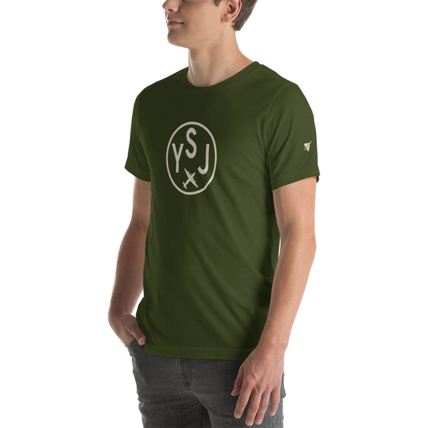 YHM Designs - YSJ Saint John Airport Code T-Shirt - Adult - Olive Green - Gift for Dad or Husband