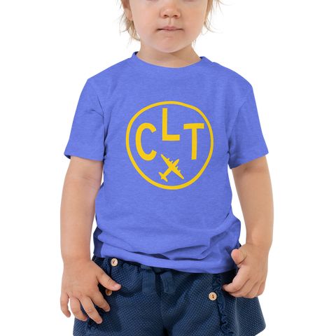 YHM Designs - CLT Charlotte Airport Code T-Shirt - Toddler Child - Boy's or Girl's Gift