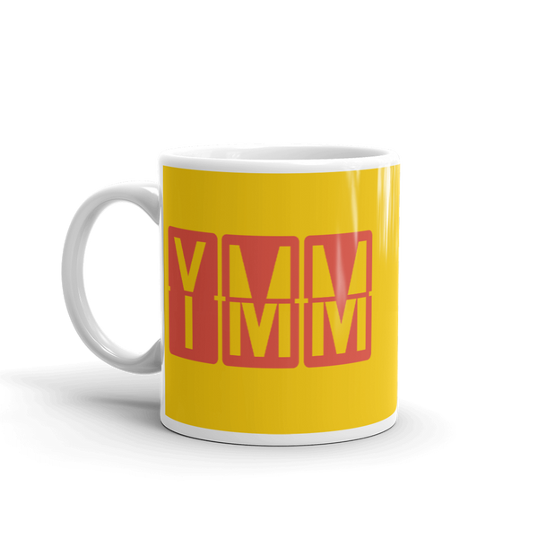 YHM Designs - YMM Fort McMurray, Alberta Airport Code Coffee Mug - Birthday Gift, Christmas Gift - Red and Yellow - Left