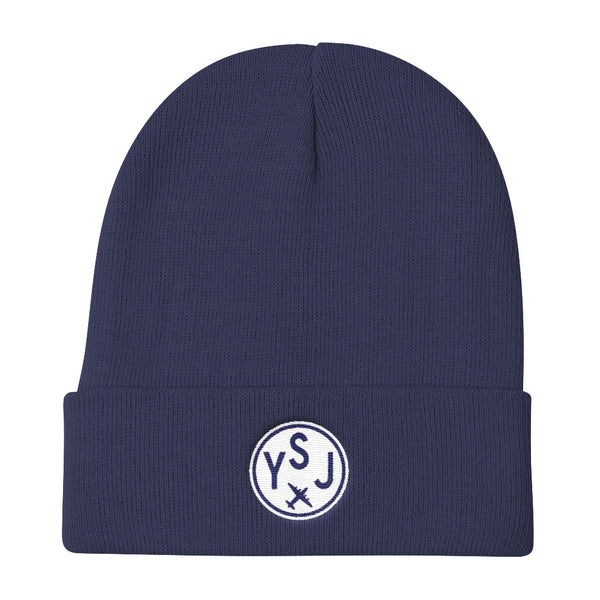 YHM Designs - YSJ Saint John Vintage Roundel Airport Code Winter Hat - Navy Blue - Local Gift - Birthday Gift