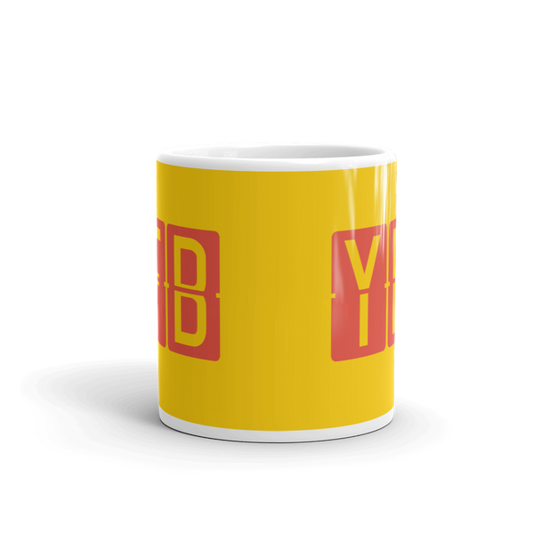 YHM Designs - YFB Iqaluit, Nunavut Airport Code Coffee Mug - Teacher Gift, Airbnb Decor - Red and Yellow - Side