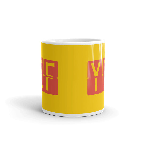 YHM Designs - YZF Yellowknife, Northwest Territories Airport Code Coffee Mug - Teacher Gift, Airbnb Decor - Red and Yellow - Side