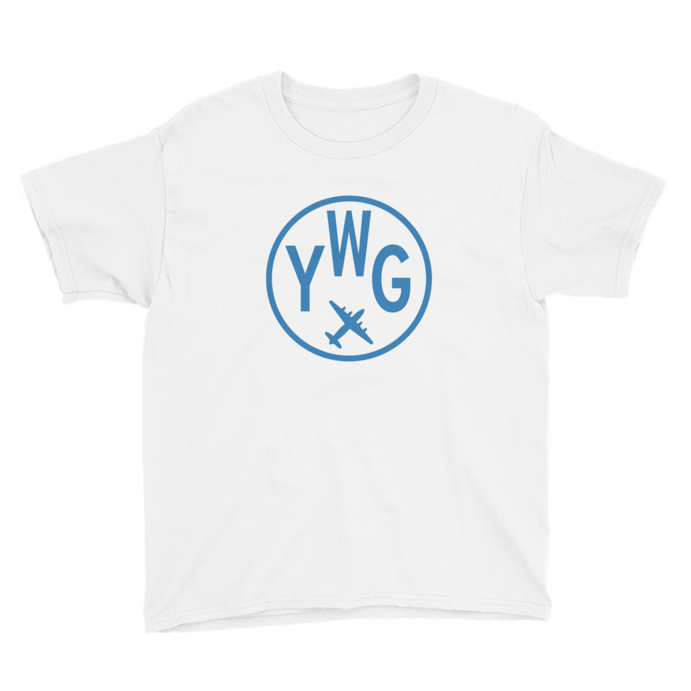 YHM Designs - YWG Winnipeg T-Shirt - Airport Code and Vintage Roundel Design - Child Youth - Navy Blue - Gift for Child or Children