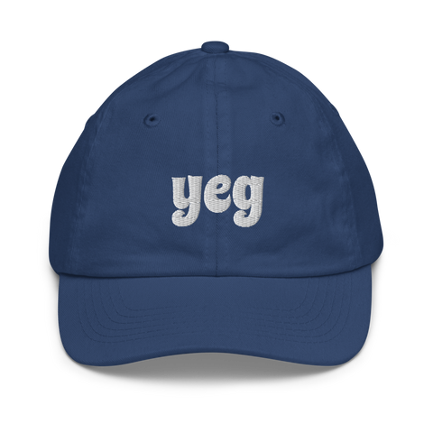 YHM Designs - YEG Edmonton Airport Code Baseball Cap - Youth/Kids - Blue