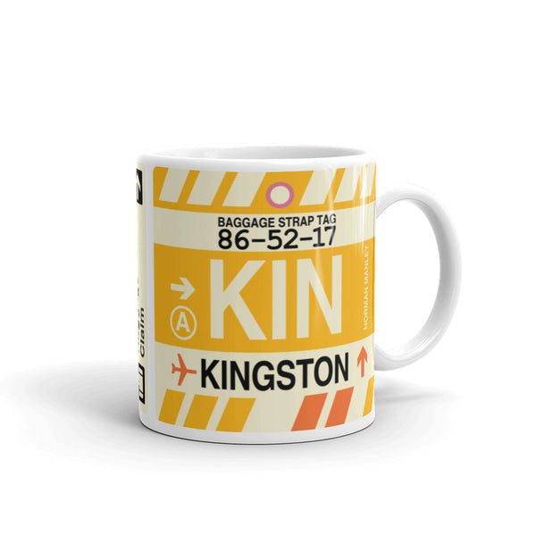 YHM Designs - KIN Kingston, Jamaica Airport Code Coffee Mug - Graduation Gift, Housewarming Gift - Right