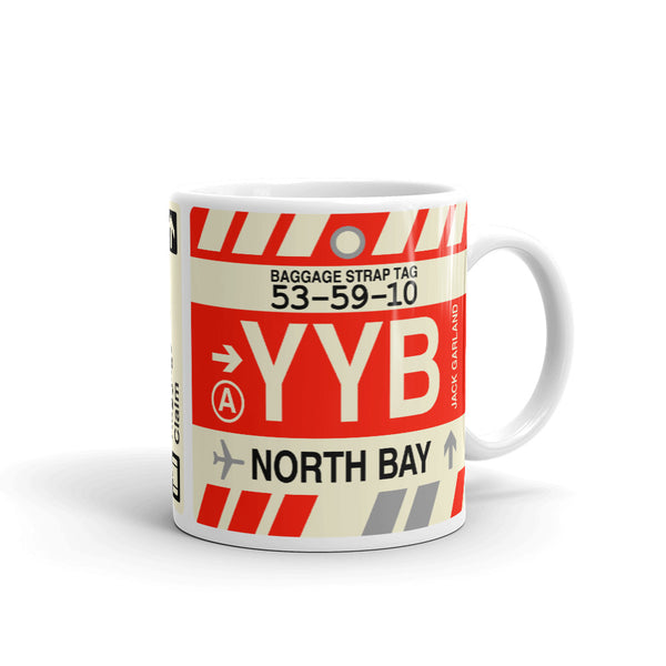 YHM Designs - YYB North Bay Airport Code Coffee Mug - Teacher Gift, Airbnb Decor - Side
