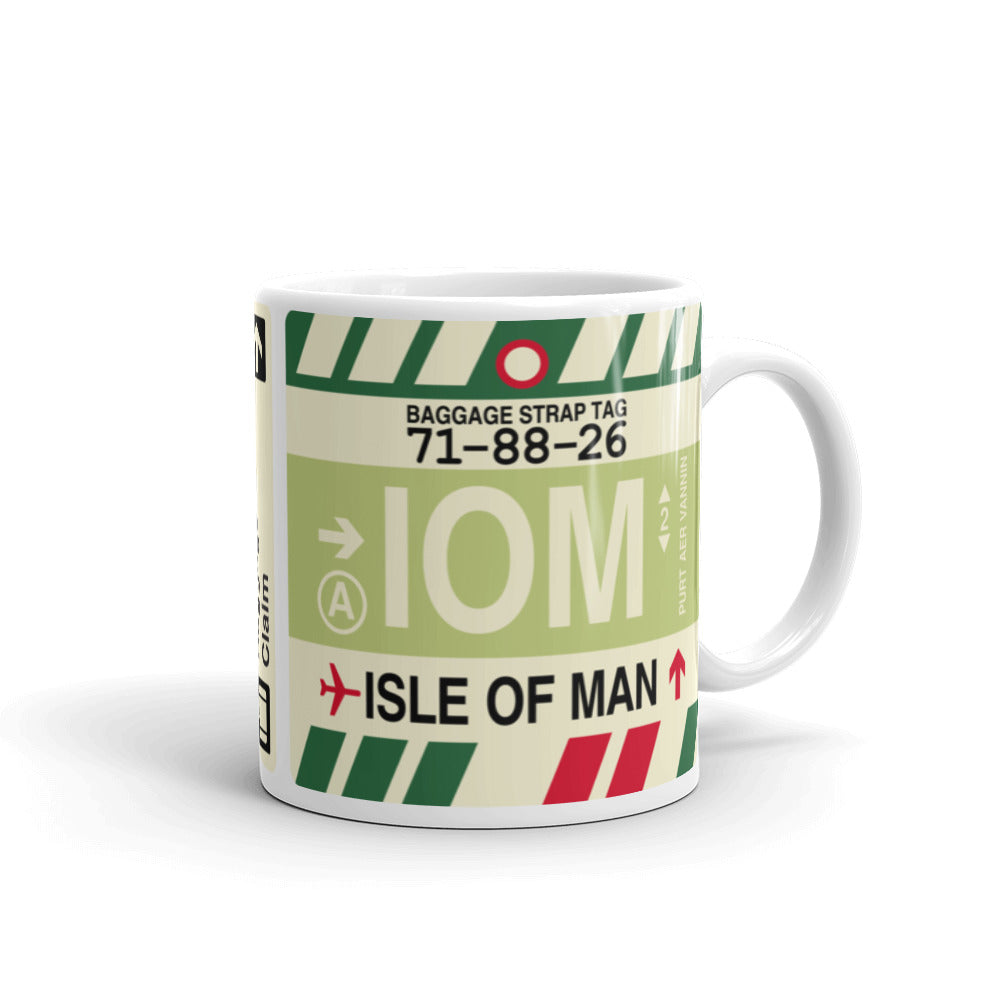 YHM Designs - IOM Isle of Man Airport Code Coffee Mug - Graduation Gift, Housewarming Gift - Right