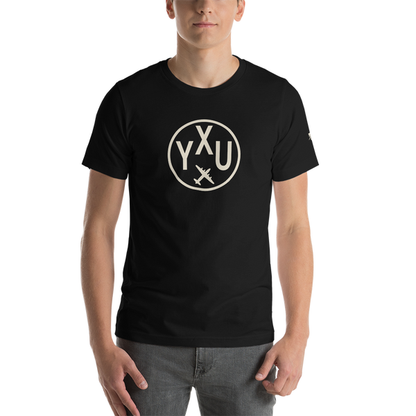 YHM Designs - YXU London Airport Code T-Shirt - Adult - Black - Birthday Gift