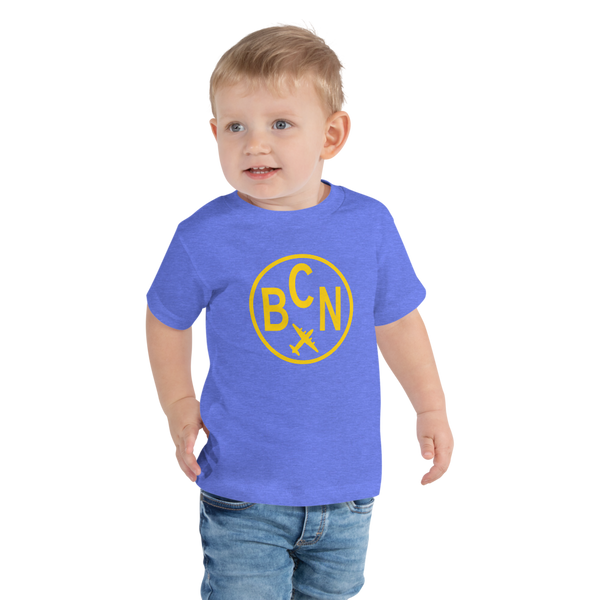 YHM Designs - BCN Barcelona Airport Code T-Shirt - Toddler Child - Children's Gift