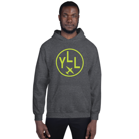 YHM Designs - YLL Lloydminster Airport Code Hoodie with Roundel Design - Dark Heather - Front