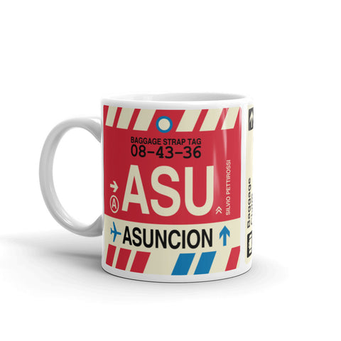 YHM Designs - ASU Asuncion, Paraguay Airport Code Coffee Mug - Birthday Gift, Christmas Gift - Left