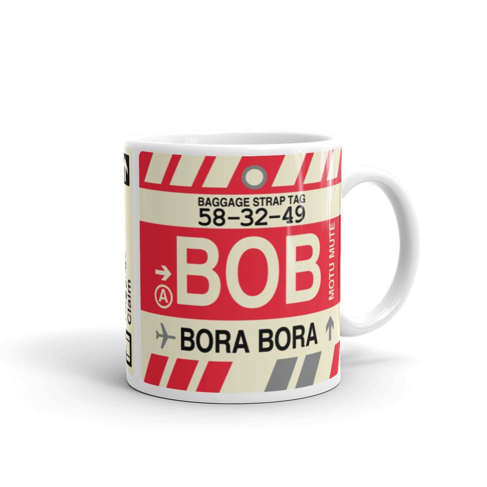YHM Designs - BOB Bora Bora,  Airport Code Coffee Mug - Graduation Gift, Housewarming Gift - Right