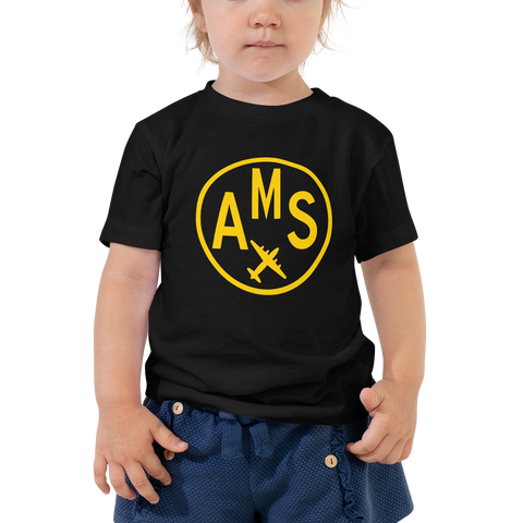 YHM Designs - AMS Amsterdam Airport Code T-Shirt - Toddler Child - Boy's or Girl's Gift