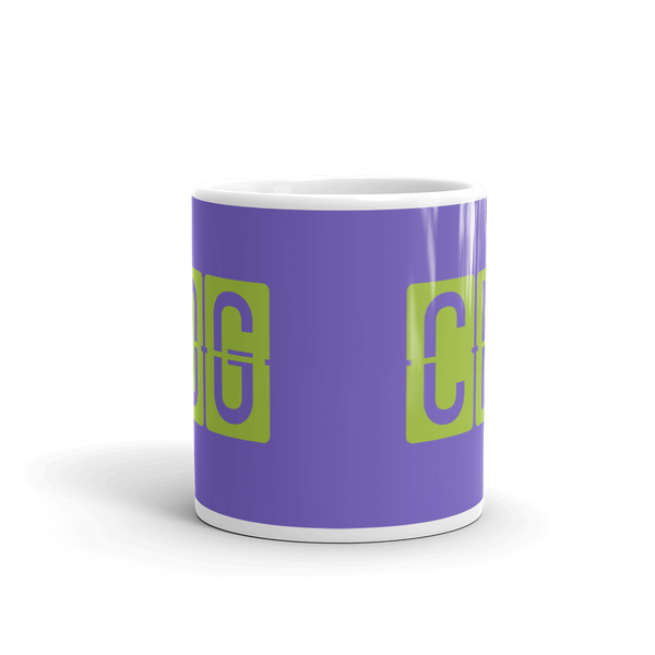 YHM Designs - CDG Paris Airport Code Split-Flap Display Coffee Mug - Teacher Gift, Airbnb Decor - Green and Purple - Side