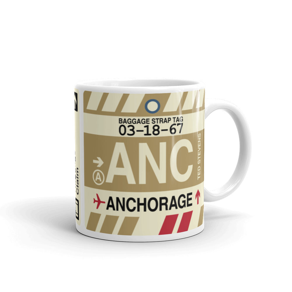 YHM Designs - ANC Anchorage, Alaska Airport Code Coffee Mug - Graduation Gift, Housewarming Gift - Right