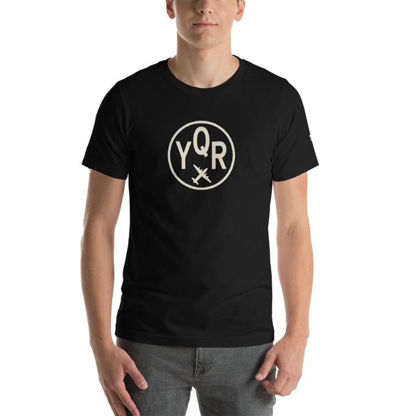 YHM Designs - YQR Regina T-Shirt - Airport Code and Vintage Roundel Design - Adult - Black - Birthday Gift