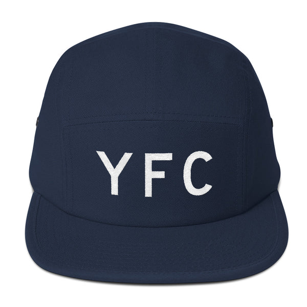 YHM Designs - YFC Fredericton Airport Code Camper Hat - Navy Blue - Front - Christmas Gift