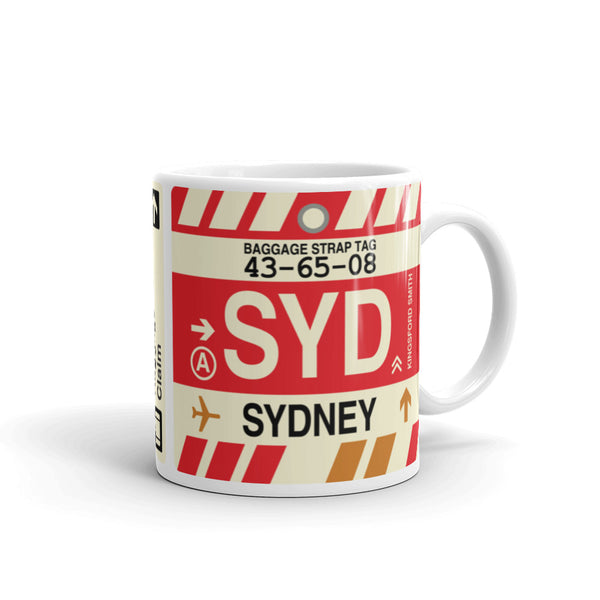 YHM Designs - SYD Sydney, Australia Airport Code Coffee Mug - Graduation Gift, Housewarming Gift - Right