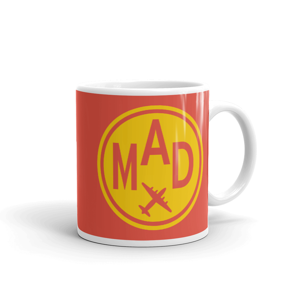 YHM Designs - MAD Madrid Airport Code Vintage Roundel Coffee Mug - Graduation Gift, Housewarming Gift - Yellow and Red - Right