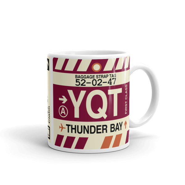YHM Designs - YQT Thunder Bay Airport Code Coffee Mug - Travel Theme Drinkware and Gift Ideas - Right