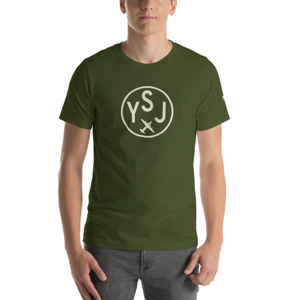 YHM Designs - YSJ Saint John Airport Code T-Shirt - Adult - Olive Green - Birthday Gift