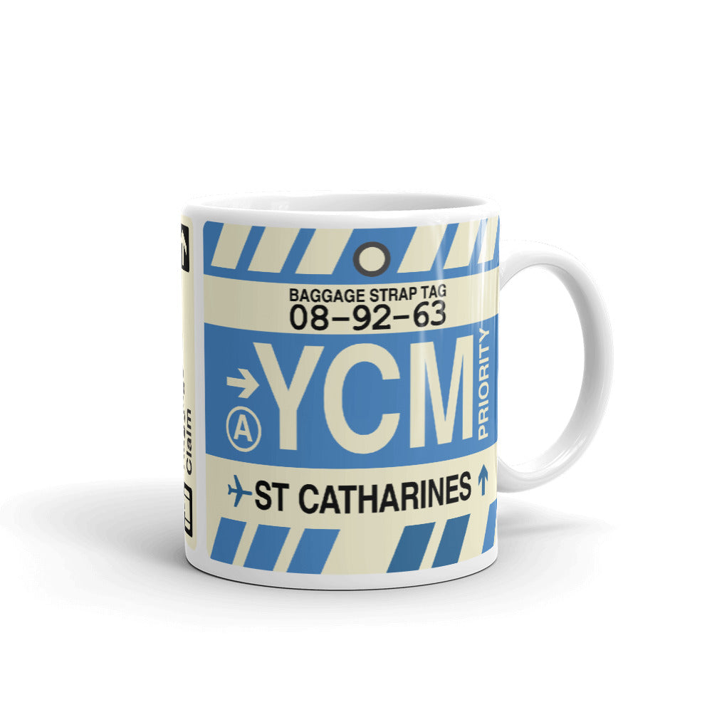YHM Designs - YCM St. Catharines Airport Code Coffee Mug - Teacher Gift, Airbnb Decor - Side