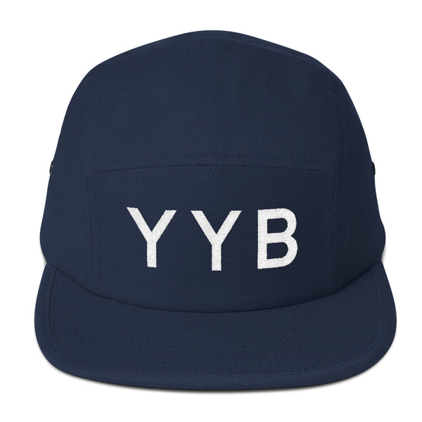 YHM Designs - YYB North Bay Airport Code Camper Hat - Navy Blue - Front - Christmas Gift