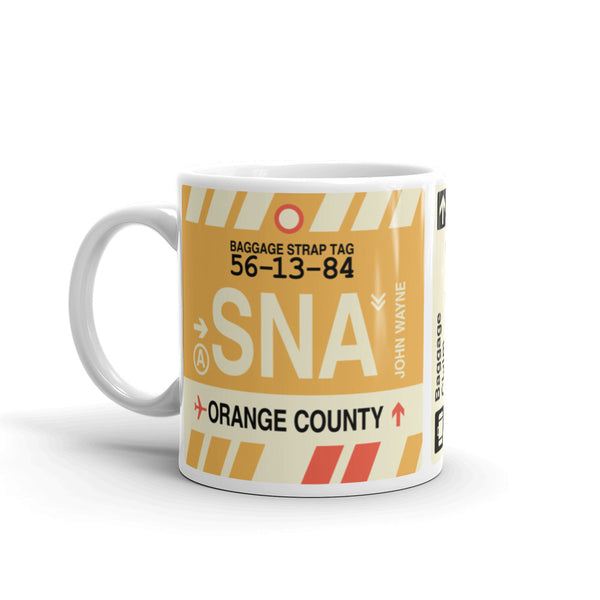 YHM Designs - SNA Orange County, California Airport Code Coffee Mug - Birthday Gift, Christmas Gift - Left