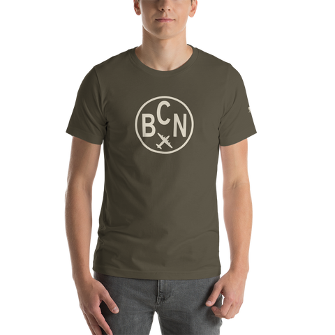 YHM Designs - BCN Barcelona Airport Code T-Shirt - Adult - Army Brown - Birthday Gift