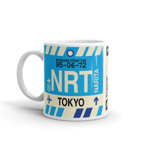 YHM Designs - NRT Tokyo, Japan Airport Code Coffee Mug - Birthday Gift, Christmas Gift - Left